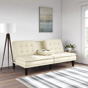 $179.99(原价$299)Mainstays 记忆海绵坐垫仿皮折叠沙发床 带杯架 2色可选