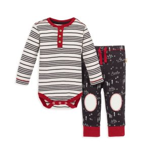 Burt's Bees BabyMinty Stripe Organic Baby Bodysuit and Snowcap Mountains Pant Set