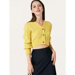 黄色短款针织开衫