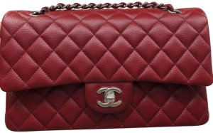 Chanel Classic Flap Medium In Dark Red Caviar Leather Shoulder Bag - Tradesy
