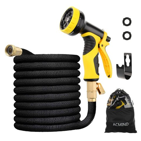 Acmind 50FT Expandable Garden Hose With 9 Function Spray Nozzle