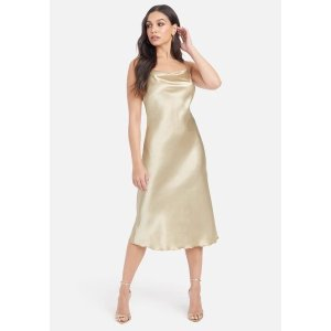 BebeSatin Cowl Neck Slip Midi Dress