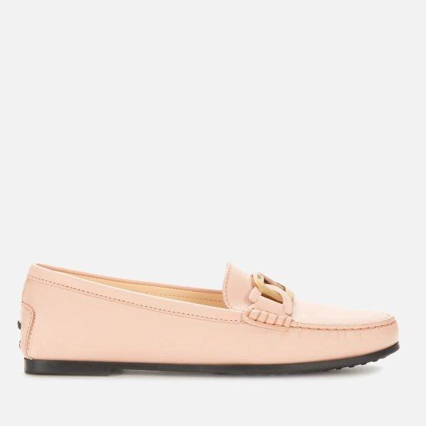 粉色环扣乐福鞋