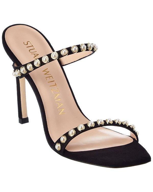 珍珠一字带凉鞋