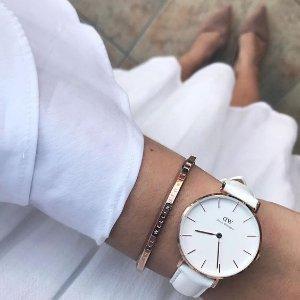 7.7折 $159(官网原价$205)Daniel Wellington Petite Bondi 意大利真皮白色手表
