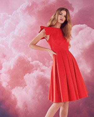 Frill shoulder cotton-blend dress - Light Orange | Dresses | Ted Baker