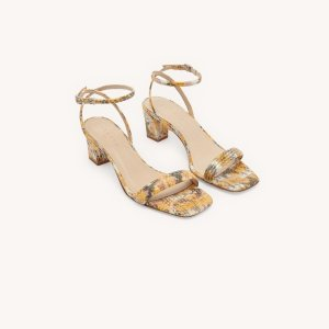 SandroEmbossed leather sandals