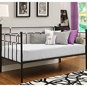 $89DHP Hayley Metal Daybed, Space-Saving and Multifunctional, Black