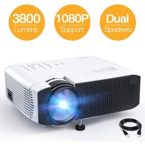 限时8折 $60.79APEMAN 迷你便携投影仪 支持1080P 3800流明