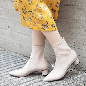 Pedder RedDORKAS - POINTED CYLINDER HEEL BOOTIES BEIGE KID LEATHER
