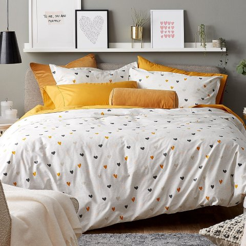限时7折起Simons 小心心有机棉床品套装  让爱床充满浪漫气息