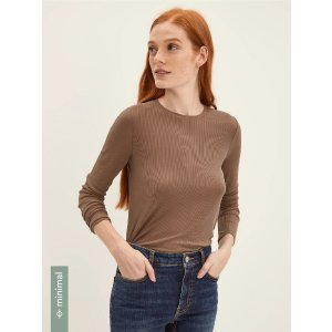 Frank And OakLong Sleeved Modal-Blend Ribbed Tee in Chocolate