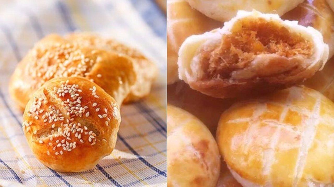 超简单四步做油酥肉松饼
