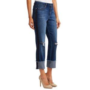 03203b57dc9dd Sofia Jeans by Sofia VergaraVeronica Distressed Side Stripe Cuffed Straight  Leg High Waist Jean Women s (