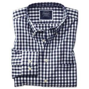 Charles TyrwhittClassic fit button-down non-iron poplin navy blue gingham shirt