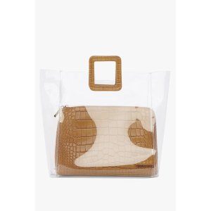 LARGE SHIRLEY BAG | CLEAR/TAN CROC EMBOSSED