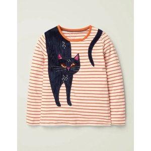BodenStripy Animal Applique T-Shirt - Ivory/Orange Cat | Boden US