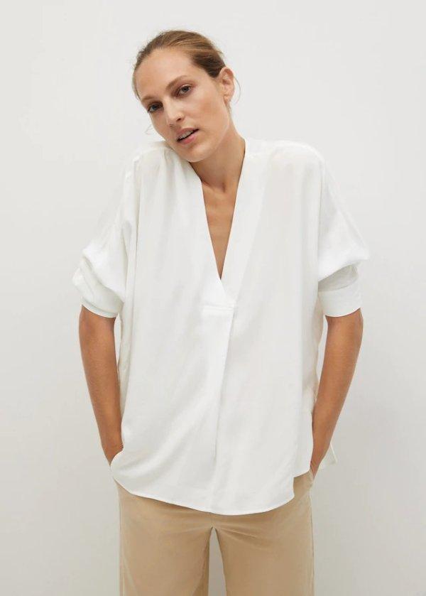 休闲V领衬衫