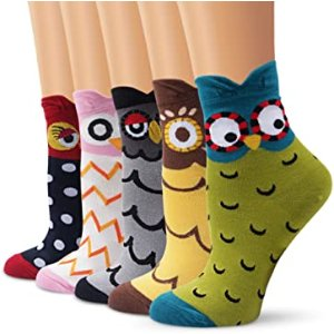 低至8折 $6.79收脚印棉袜5双白菜价:Ambielly 舒适可爱小动物袜子专场