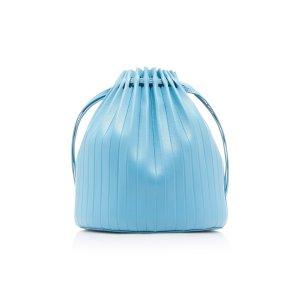 Mansur GavrielPleated Blue Leather Bucket Bag