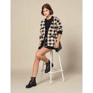 SandroLoose-Fitting Checked Cardigan