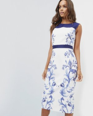 Persian Blue midi dress - Dark Blue | Dresses | Ted Baker