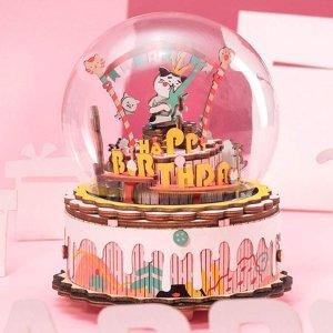 仅€29.99收封面款 满满少女心Rolife 3D木质音乐盒 旋转木马、水晶球都有 宅家动手享受时光