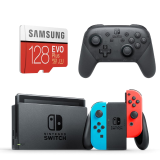 Nintendo Switch + Pro Controller + 128GB microSD Card