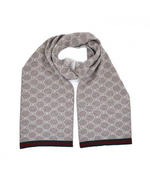 米色/奶油色GG Monogram织带可逆羊毛围巾