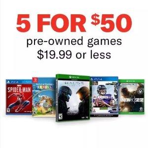 5款任意游戏$50GameStop 全平台二手游戏特卖, 2077 文明 真人快打 都参加