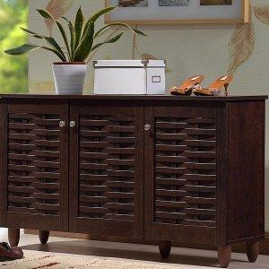 $85 Baxton Studio 12-Pair Winda Dark Brown Wood Wide Shoe Organizer Storage Cabinet