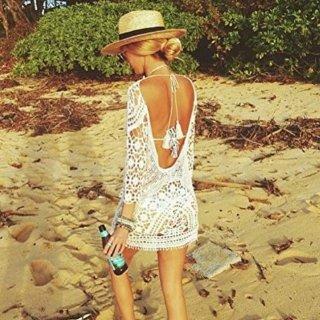 售价$18.99  海滩必备Jeasona 女士波希米亚风格编织镂空蕾丝裙