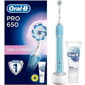 46折 现价£22.99(原价£49.99)史低价:Oral-B Pro650 电动牙刷套组 让你的笑容更自信