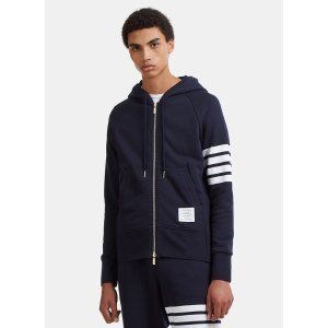 Thom BrowneMen's 4 Bar Hooded Sweater in Navy