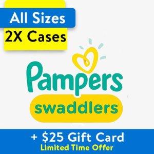 两箱送最高$25礼卡 单片$0.12起Pampers 全系列婴儿纸尿裤热卖,收Swaddlers