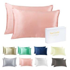 2折 $45两件套免邮带回家Royal comfore 100%桑蚕丝亲肤枕套X2 多色可选