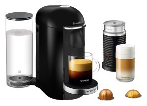 Nespresso VertuoPlus Deluxe Coffee and Espresso Machine Bundle with Aeroccino Milk Frother by Breville