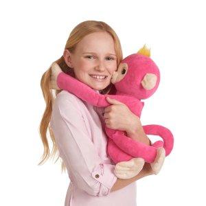 Fingerlings HUGS - Bella (Pink) - Interactive Plush Monkey by WowWee