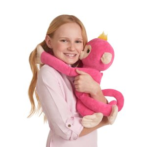 Fingerlings HUGS - Bella (Pink) - Interactive Plush Monkey by WowWee