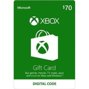 $65$70 Xbox 电子礼卡礼卡 送3个月Xbox 金会员(价值$24.99)