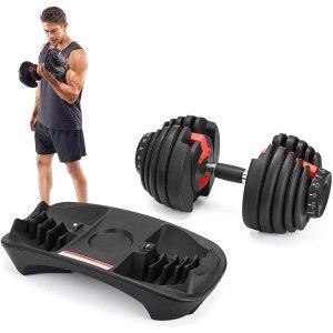 $215.99(原价$269.99)史低价:可调节式健身哑铃 最大重量52.5磅 在家轻松健身