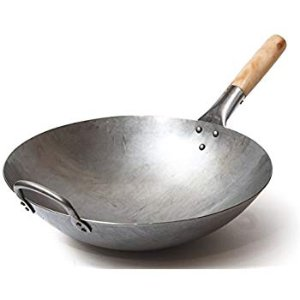 Amazon.com: Authentic Hand Hammered Wok, 14 Inch Carbon Steel Chinese Pow Wok, Traditional Round Bottom Wok by Mammafong: Gateway