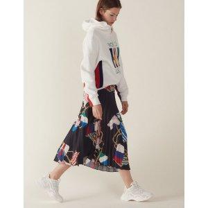 SandroPrinted skirt with pleats