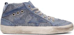 Golden Goose: Blue Glitter Mid Star Sneakers | SSENSE