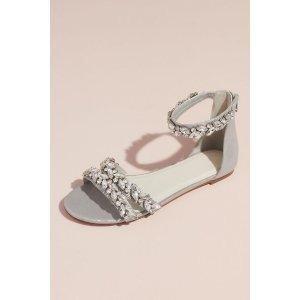 Davids BridalBuy 1 Get 1 50% OffJeweled Metallic Ankle Strap Flat Sandals