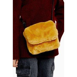 TopshopFRIDA Mustard Faux Fur Cross Body Bag