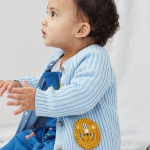 黑五价:Joules 婴儿全棉针织开衫,可爱小狮子贴布绣