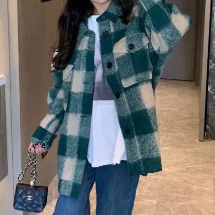 绿色格纹羊毛夹克