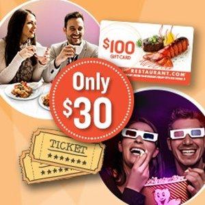 $30 晚餐电影超值套餐!价值一百餐厅礼卡+两张电影票 约会全套包裹超值价