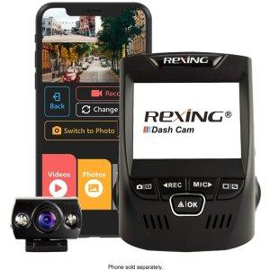 $104.99 (原价$149.99)Rexing V1P Plus 1080p 前后双摄 高清行车记录仪